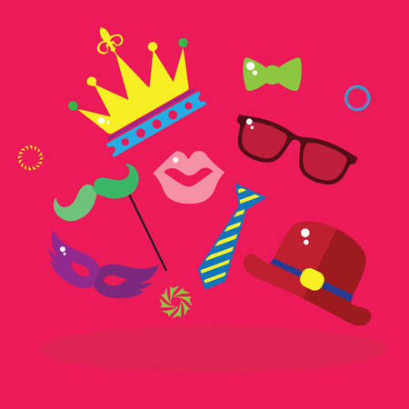 carnival, colorful carnival paraphernalia on a pink background vector