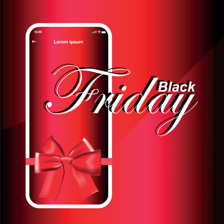 Smartphone on red background with gift bow, black friday, vector illustration