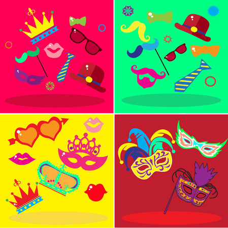 bright set of carnival attributes, vector