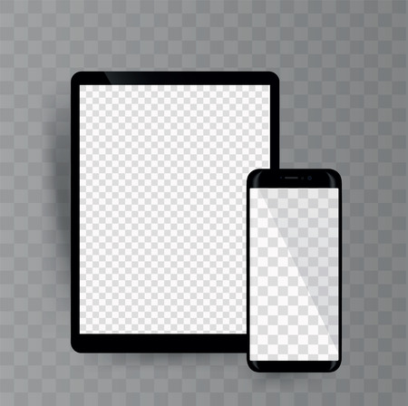 Smartphone and tablet on transparent background,