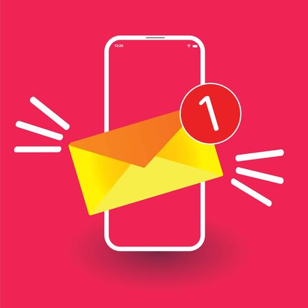 Email icon in smartphone Illustration