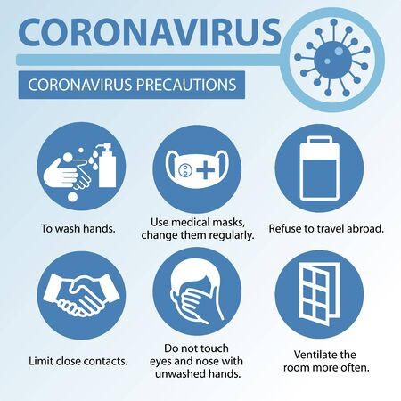 Symptoms and prevention of coronavirus disease from viruses and infections. The character has a fever, cough and other signs of respiratory illness.