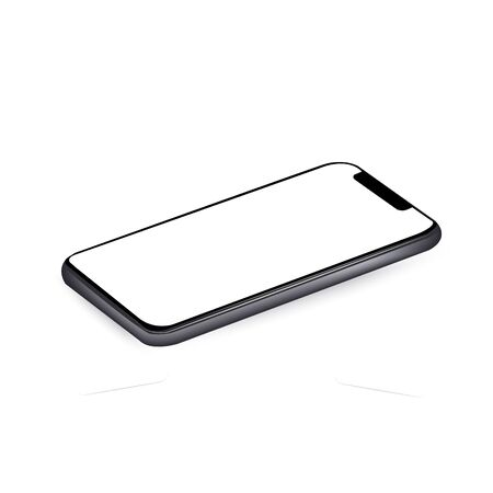 smartphone with a blank screen lying on a flat surface. Vector mockup.