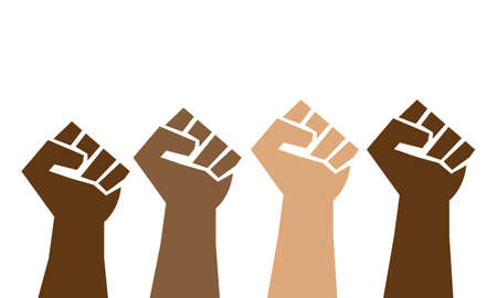 Proud fists. Black Lives Matter, brown leather, symbol of activism of discrimination of gesture of a hand up, African American, people of color.