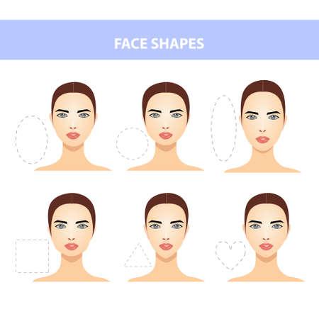 Set of Different Female Face Shapes on a White Background. Illusztráció