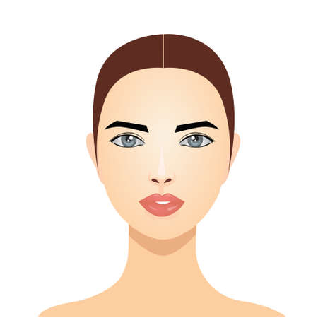 Woman face isolated on a white background. Model for cosmetic facial. Facial skin care. Vettoriali