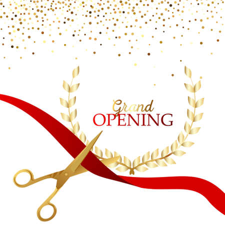 Grand opening design with ribbon, balloons and gold scissors, confetti.