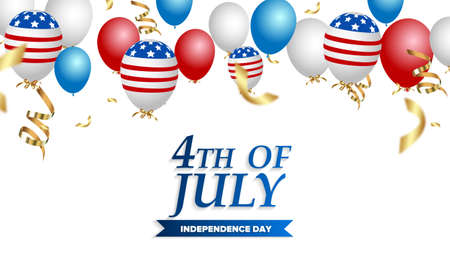USA Independence Day banner template American flag balloons decor. 4th of July celebration poster template. Vector