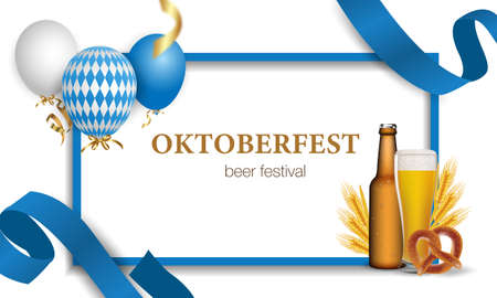 Oktoberfest festival. Beer glass, hops, barrel, barbecue, men s glass. illustration with wheat and beer, prendil and bavarian barbecue sausages