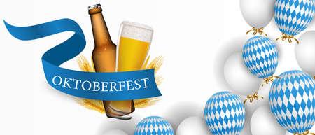 Oktoberfest festival. Beer glass, hops, barrel, barbecue, men s glass. illustration with wheat and beer, prendil and bavarian barbecue sausages Vektoros illusztráció