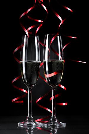 champaigne: Holiday champagne glasses in dark Stock Photo