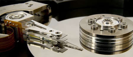 hard drive crash: Close-up of the opened Hard Disk Drive