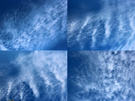 cirrus: Four picture collage of  white cirrus clouds in blue Australian sky