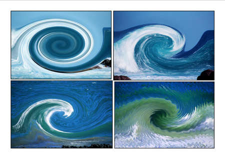 Collage of Ocean waves designs photo