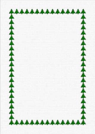 Blank sheet with border of green Xmas trees Stock Photo - 16056028