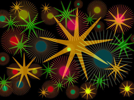 superimposed: Modern bright abstract star design superimposed on black background Stock Photo