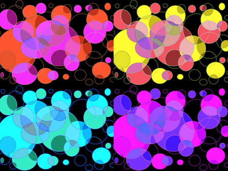 intersects: Collage of four picture  colourful bubble design on black background Stock Photo