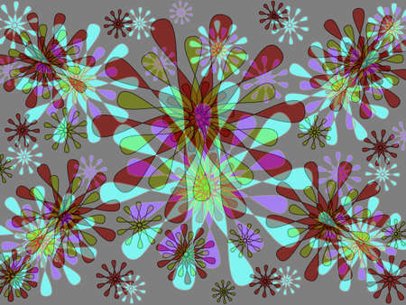 Modern abstract floral design in purple and green photo