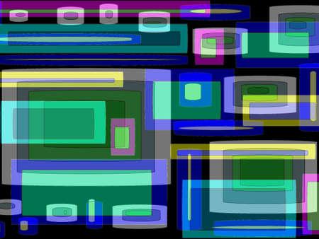 superimposed: Modern colourful  rectangular design superimposed on black  background Stock Photo