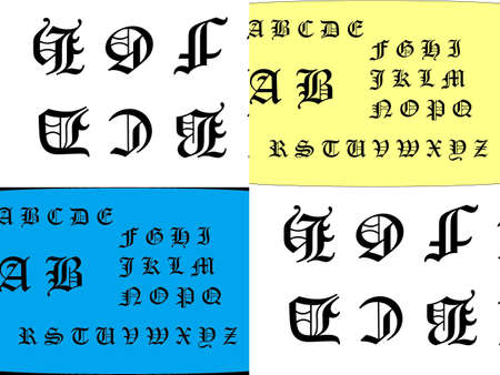 Four Picture collage of Old English script alphabet Stock Photo - 16765860