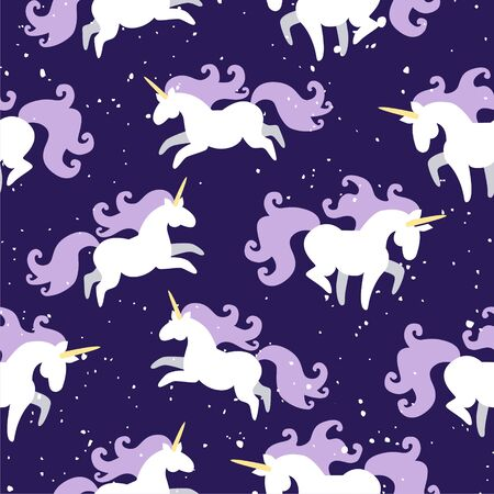 Vector seamless pattern of magic fat white unicorn horses with purple mane running around night sky. Starry night sky. Childrens, kids concept. Textile template Illustration