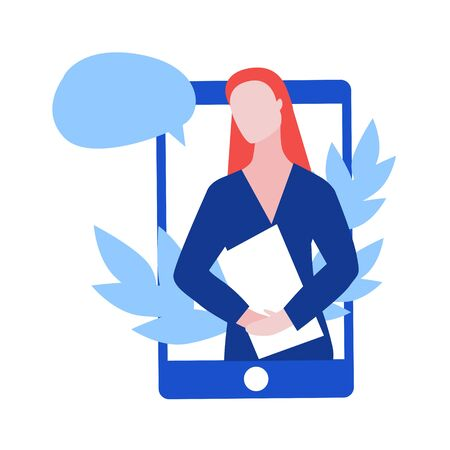 Vector illustraion of red head woman consultant with paper holder and speech bubble on the phone screen with leaves. Online consultant concept web banner on site or mobile application