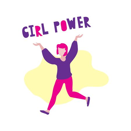 Vector illustration of woman or girl with pink hair running and holding Girl power phrase on yellow background. Woman power phrase. Feminism, woman rights, strong girl concept Vector Illustration