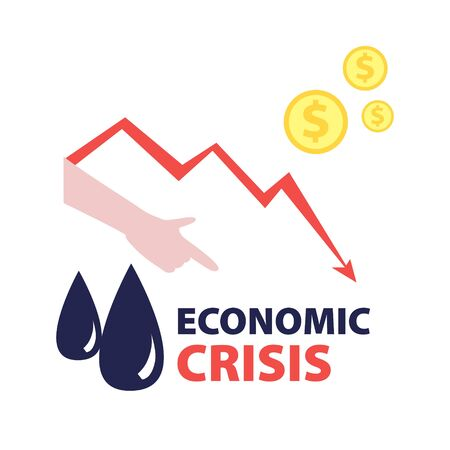 Vector flat illustration of black oil drops with red falling arrow of the economic chart, dollars cash and hand pointing finger down. Financial world crisis concept.