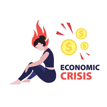 "Vector flat illustration of sitting woman investor in stressed with head on fire and dollars coins and phrase ""economic crisis"". Financial world crisis concept. Down of oil price, market decline"