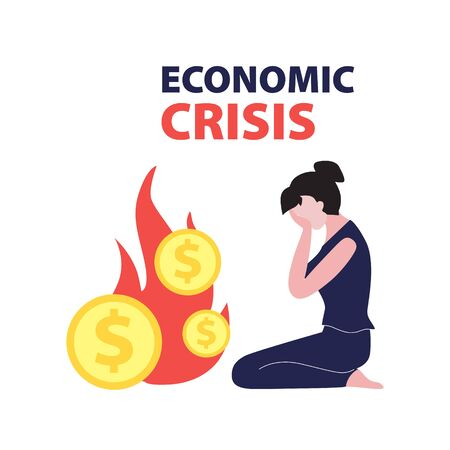 Vector flat illustration of sitting and crying investor and dollar coins on fire. Financial world crisis concept. Down of oil price, market decline, economy is in shock  Illustration