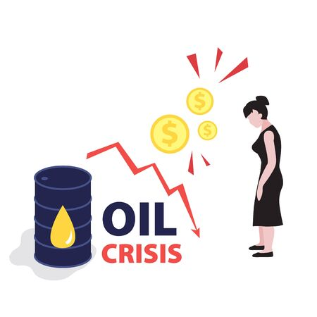 Vector flat illustration of barrel of oil with red falling arrow of the economic chart and dollars coins. Financial world crisis concept. Down of oil price, market decline, woman investor is in shock