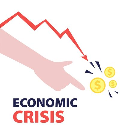 Vector flat illustration of hand pointing finger to dollar coins with red falling arrow of the economic chart. Financial world crisis concept. Down of oil price, market decline