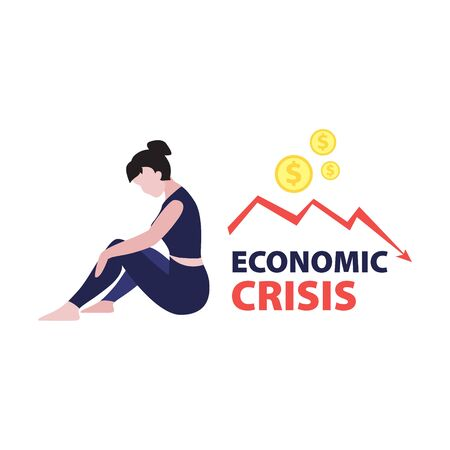 Vector flat illustration of sitting woman investor with red falling arrow and dollars coins. Financial world crisis concept. Down of oil price, market decline, woman investor is in shock  Illustration