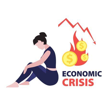 Vector flat illustration of sitting depressed investor woman with red falling arrow of the economic chart and dollar coins in fire. Financial world crisis concept. Down of oil price, market decline Illustration