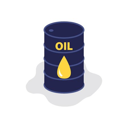 """Vector flat illustration of barrel of raw oil with title """"oil"""". Financial world economic concept. Up and down of oil price, market decline, economy is in shock Vector Illustration"""