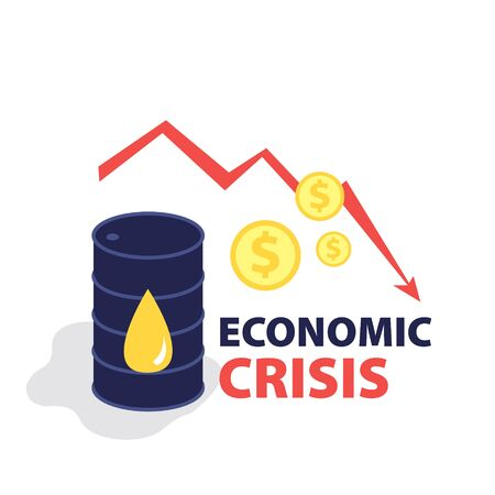 Vector flat illustration of barrel of oil with red falling arrow of the economic chart and dollar coins cash. Financial world crisis concept. Down of oil price, market decline, economy is in shock