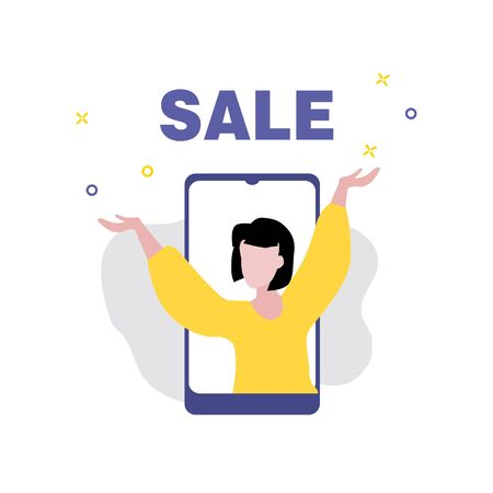 Vector illustration of girl or woman with hands up on screen of smartphone and word Sale. Sale, online shopping, shopping app, consumer, discount offer concept.  일러스트