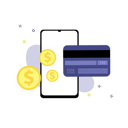 Vector illustration of smartphone with credit or debit plastic card and dollar coins.  Online shopping, shopping app, exchange money concept. Smartphone online payments