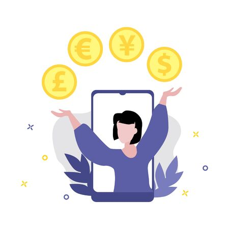 Vector illustration of girl or woman with various money such as euro, dollar, pound, yen, yuan coins. Online shopping, shopping app, exchange money concept. Smartphone online payments