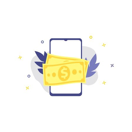 Vector illustration of smartphone with dollar cash.  Online shopping, shopping app, exchange money concept. Smartphone online payments Illustration