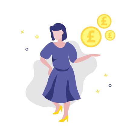 Vector illustration of girl or woman showing pound coins. Sale, online shopping, shopping app, consumer concept. Investor or save money concept