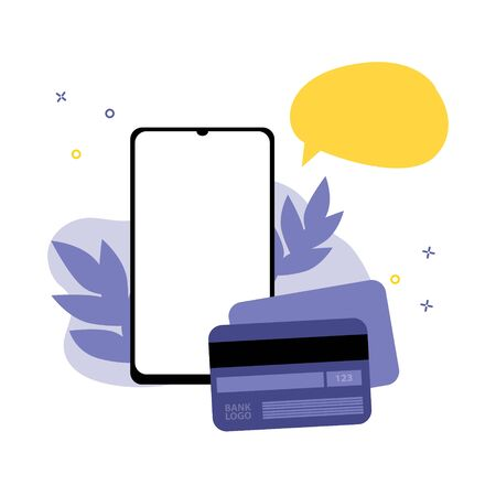 Vector illustration of smartphone with plastic credit or debit card with speech bubble.  Online shopping, shopping app, exchange money concept. Smartphone online help Illustration