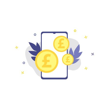 Vector illustration of smartphone with pound coins.  Online shopping, shopping app, exchange money concept. Smartphone online payments Illustration