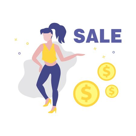 Vector illustration of girl or woman showing dollar or cent coins. Sale, online shopping, shopping app, consumer, discount offer concept.