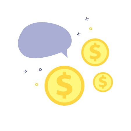 Vector illustration of blue speech bubble or balloon with dollar or cent coins. Bussineess quote template for finance. Illustration