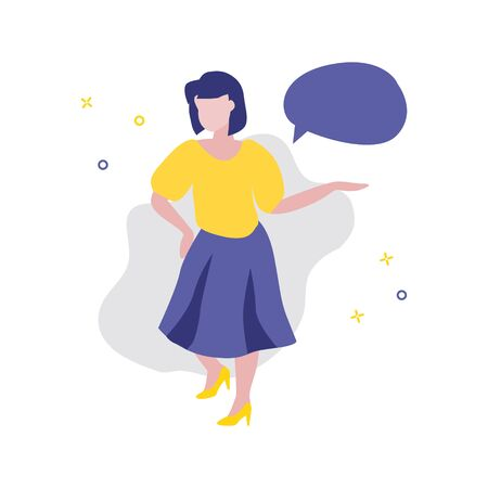 Vector illustration of girl or woman showing or offering something and speech bubble. Sale, online shopping, shopping app, consumer, discount offer concept. Good advantageous offer for buyers 일러스트