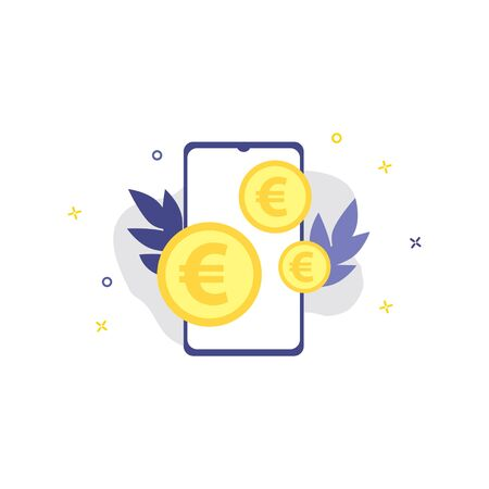 Vector illustration of smartphone with euro coins.  Online shopping, shopping app, exchange money concept. Smartphone online payments Illustration
