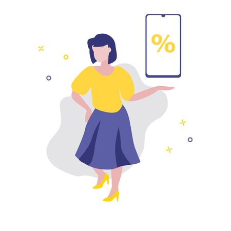 Vector illustration of girl or woman showing or offering smartphone with percent on screen. Sale, online shopping, shopping app, consumer, discount offer concept. Good advantageous offer for buyers