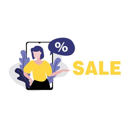 Vector illustration of girl or woman in smartphone with speech bubble with percent. Sale, online shopping, shopping app, consumer concept. 일러스트