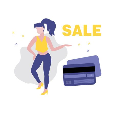 Vector illustration of girl or woman showing word sale and plastic credit or payment card. Sale, online shopping, shopping app, consumer, discount offer concept. Ilustração